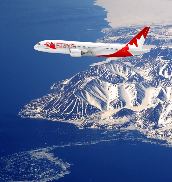 Strato International Airways Boeing 787-8 Dreamliner over the coast of Nunavut, Canada